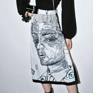 New Beautiful Skirt in Face Print Artistic